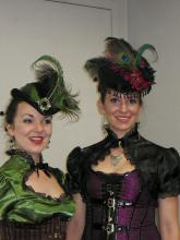 Two of the exhibitors decked out in their Steampunk finery.
